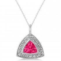Pink Tourmaline Trillion Cut Halo Pendant 14k White Gold (1.86ct)