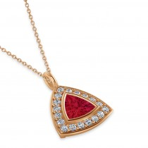 Ruby Trillion Cut Halo Pendant 14k Rose Gold (1.86ct)