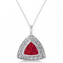 Ruby Trillion Cut Halo Pendant 14k White Gold (1.86ct)