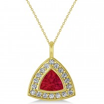 Ruby Trillion Cut Halo Pendant 14k Yellow Gold (1.86ct)