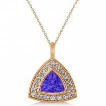 Tanzanite Trillion Cut Halo Pendant 14k Rose Gold (1.86ct)