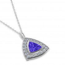 Tanzanite Trillion Cut Halo Pendant 14k White Gold (1.86ct)