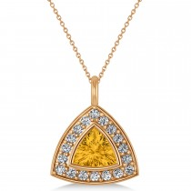 Yellow Sapphire Trillion Cut Halo Pendant 14k Rose Gold (1.86ct)