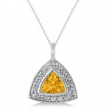 Yellow Sapphire Trillion Cut Halo Pendant 14k White Gold (1.86ct)