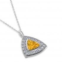 Yellow Sapphire Trillion Cut Halo Pendant 14k White Gold (1.86ct)