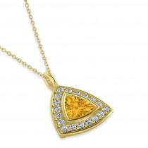 Yellow Sapphire Trillion Cut Halo Pendant 14k Yellow Gold (1.86ct)
