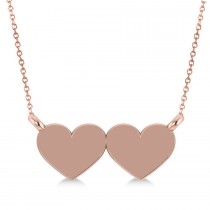 Double Hearts Plain Metal Pendant Necklace 14k Rose Gold