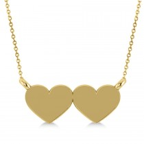 Double Hearts Plain Metal Pendant Necklace 14k Yellow Gold