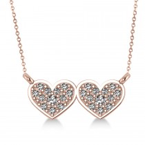 Double Heart Diamond Pendant Necklace 14k Rose Gold (0.28ct)