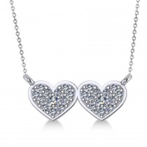 Double Heart Diamond Pendant Necklace 14k White Gold (0.28ct)