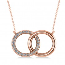 Interlocking Circular Diamond Pendant Necklace 14k Rose Gold (0.33ct)