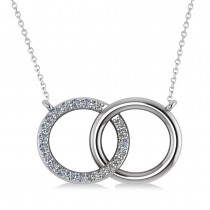 Interlocking Circular Diamond Pendant Necklace 14k White Gold (0.33ct)