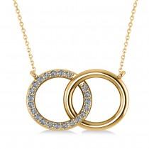 Interlocking Circular Diamond Pendant Necklace 14k Yellow Gold (0.33ct)