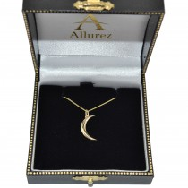 Crescent Moon Pendant Necklace 14K Yellow Gold