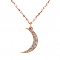 Crescent Moon Shaped Diamond Pendant Necklace 14k Rose Gold (0.13ct)