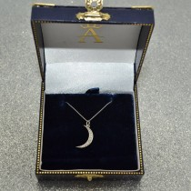 Crescent Moon Shaped Diamond Pendant Necklace 14k White Gold (0.13ct)