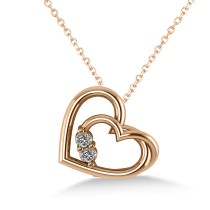 Double Heart Two Stone Diamond Pendant 14k Rose Gold (0.20ct)
