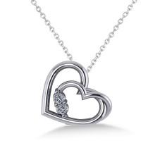 Double Heart Two Stone Diamond Pendant 14k White Gold (0.20ct)
