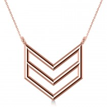 Triple Row Chevron Trapeze Pendant Necklace 14k Rose Gold