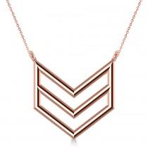 Triple Row Chevron Trapeze Pendant Necklace 14k Rose Gold