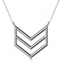 Triple Row Chevron Trapeze Pendant Necklace 14k White Gold