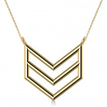 Triple Row Chevron Trapeze Pendant Necklace 14k Yellow Gold