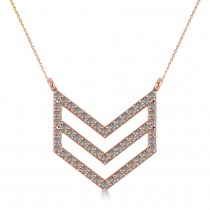 Diamond Chevron Trapeze Pendant Necklace 14k Rose Gold (0.53ct)