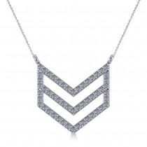 Diamond Chevron Trapeze Pendant Necklace 14k White Gold (0.53ct)