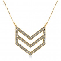 Diamond Chevron Trapeze Pendant Necklace 14k Yellow Gold (0.53ct)
