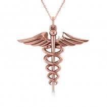 Caduceus Medical Symbol Pendant 14k Rose Gold