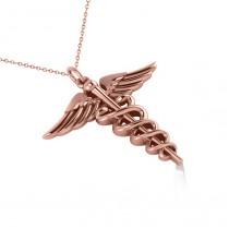 Caduceus Medical Symbol Pendant 14k Rose Gold