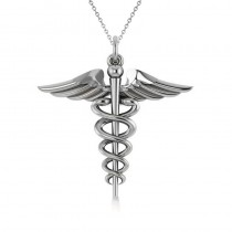 Caduceus Medical Symbol Pendant 14k White Gold