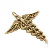 Caduceus Medical Symbol Pendant 14k Yellow Gold