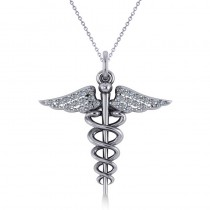 Diamond Caduceus Medical Symbol Pendant 14k White Gold (0.13ct)