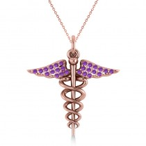 Amethyst Caduceus Medical Symbol Pendant 14k Rose Gold (0.13ct)