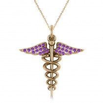 Amethyst Caduceus Medical Symbol Pendant 14k Yellow Gold (0.13ct)