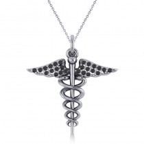Black Diamond Caduceus Medical Symbol Pendant 14k White Gold (0.13ct)