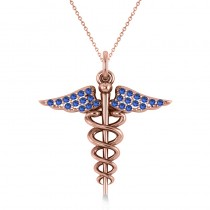 Blue Sapphire Caduceus Medical Symbol Pendant 14k Rose Gold (0.13ct)