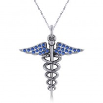 Blue Sapphire Caduceus Medical Symbol Pendant 14k White Gold (0.13ct)