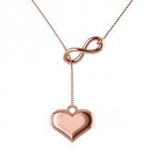 Infinity & Heart Lariat Pendant Y-Necklace in 14k Rose Gold
