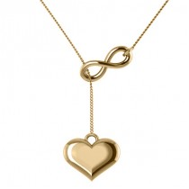 Infinity & Heart Lariat Pendant Y-Necklace in 14k Yellow Gold