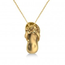 Summer Flip-Flop & Flower Pendant Necklace in 14k Yellow Gold