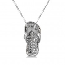 Diamond Summer Flip-Flop Pendant Necklace 14k White Gold (0.76ct)