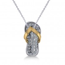 Diamond Summer Flip-Flop Pendant Necklace 14k Two Tone Gold (0.76ct)