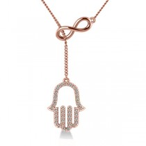 Infinity & Hamsa Religious Lariat Necklace 14k Rose Gold (0.20ct)