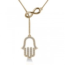 Infinity & Hamsa Religious Lariat Necklace 14k Yellow Gold (0.20ct)