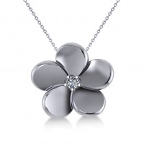 Diamond Flower Charm Pendant Necklace 14k White Gold (0.03ct)