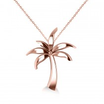 Summer Palm Tree Pendant Necklace in 14k Rose Gold
