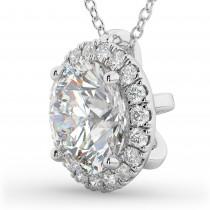 Halo Round Diamond Pendant Necklace 14k White Gold (2.29ct)