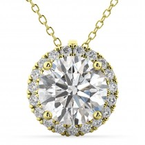 Halo Round Diamond Pendant Necklace 14k Yellow Gold (2.29ct)